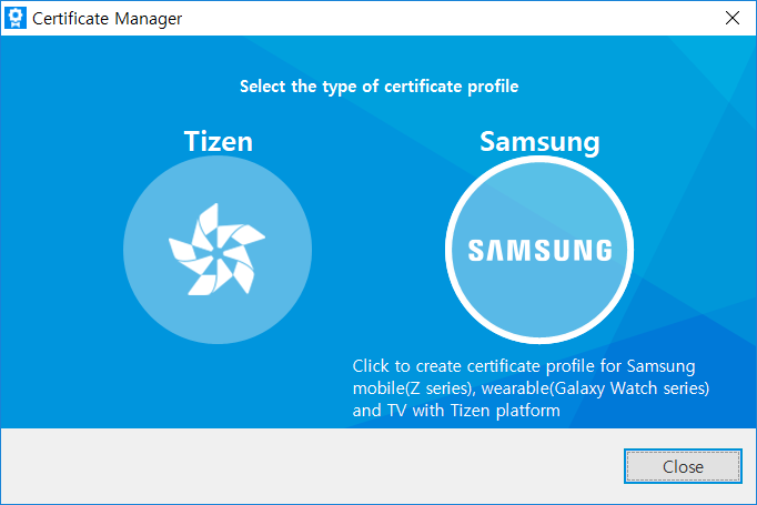 Samsung Certificate Profile for Samsung Wearables - Tizen